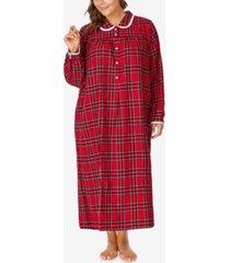 lanz of salzburg plus size cotton flannel plaid nightgown