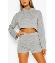 soft melange hoodie & short lounge set, grey