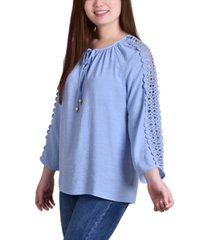 ny collection petite 3/4 sleeve tunic with crochet and tie neck
