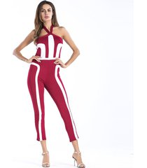 mono de verano de color sólido rojo impreso pantalones de una sola pieza