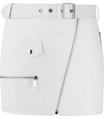 manokhi buckle and zip detail skirt - white