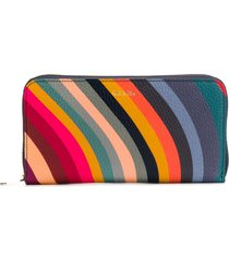 paul smith striped leather zip-up purse - blue