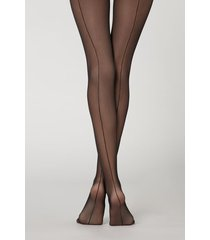 calzedonia tulle tights with leather effect briefs and back seam woman black size s