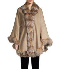 silver fox fur-trim wool shawl