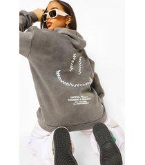 acid wash gebleekte oversized hoodie met smiley rugopdruk, charcoal