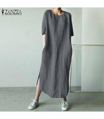 zanzea para mujer cuello redondo de algodón camisa de la playa de split de vestir de las señoras vestidos largos maxi -gris oscuro