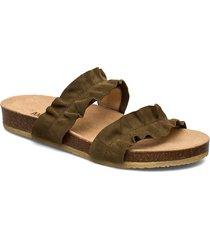 sandals - flat - open toe - op shoes summer shoes flat sandals grön angulus