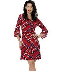 vestido bisô manga flare étnico vermelho
