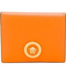 versace medusa head bi-fold wallet - orange