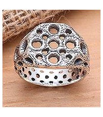 men's sterling silver ring, 'ancient honeycomb' (indonesia)