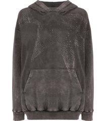 8pm rhinestone-star distressed hoodie - grey
