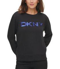 dkny patch-sequin logo sweatshirt