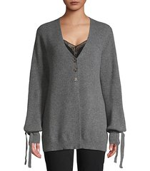 ribbed puff-sleeve cashmere cardigan sweater