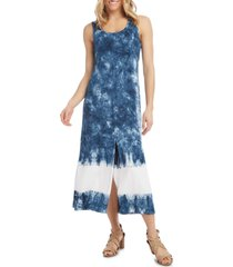 women's karen kane sleeveless tie dye midi dress, size x-large - blue