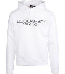 dsquared2 man white d2 milano hoodie