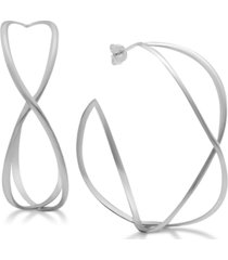 essentials twisted wire medium hoop earrings in fine silver-plate