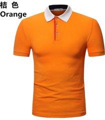 camiseta de solapa de casual tops hombre verano nuevo polo casual-naranja