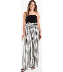 sandra striped strapless jumpsuit - black/white
