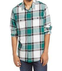 men's filson scout plaid sport shirt, size medium - green