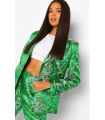 getailleerde oriëntaalse jacquard blazer met dubbele knopen, green