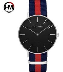 reloj de correa de nylon de los hombres de la cara-rojo