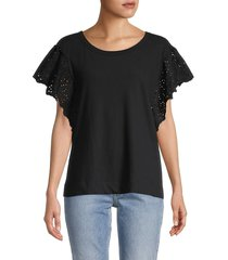 allsaints women's noja cotton & linen-blend top - black - size s