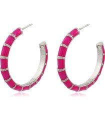 brinco viva jolie argola colors grande rosa pink ródio