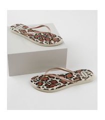 chinelo feminino havaianas slim estampado animal print marrom