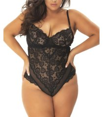 women's plus size unlined lace teddy with underwire