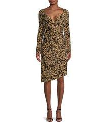 norma kamali women's ruched leopard-print asymmetrical dress - golden leopard - size xs