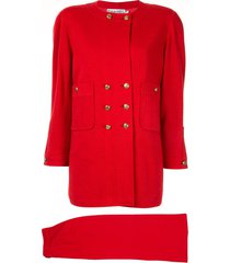 chanel pre-owned setup skirt suit - red
