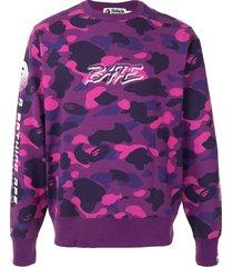 a bathing ape® camo logo print sweatshirt - purple