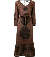 vita kin camelia pleated midi dress - brown