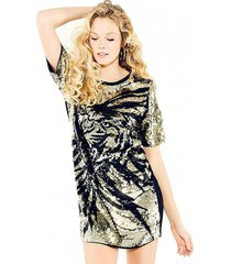 vestido ss tiger sequin dress dorado guess