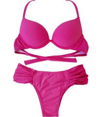 biquíni turbo 3d push up divance pink calcinha lateral dupla franzida