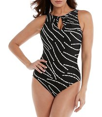 twist-front keyhole one-piece swimsuit