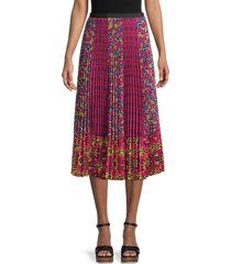 redvalentino women's accordian-pleated floral skirt - magenta - size 40 (8)