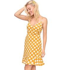 vestido fiveblu curto poá amarelo/off-white