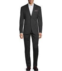 crosshatch slim-fit suit