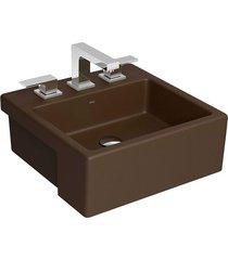 cuba de semi-encaixe quadrada marrom fosco com mesa 42cm l830 - deca - deca