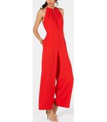 donna ricco sleeveless hardware-embellished jumpsuit