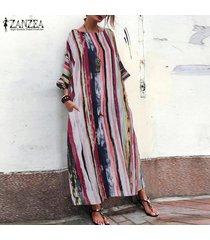 zanzea mujeres batwing manga larga a rayas camisa de vestir vestido maxi largo caftán tops -multicolor