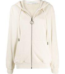 off-white arrows print zip-up hoodie - neutrals