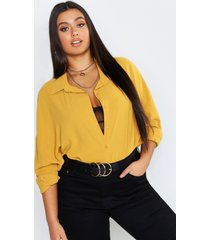 plus oversized woven utility shirt, mustard