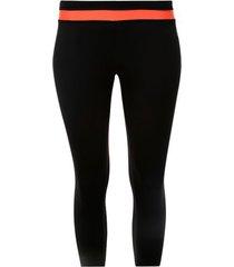 legging deportivo con pretina en contraste color naranja, talla xs
