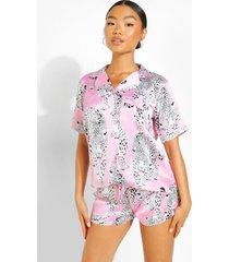 petite luipaardprint pyjama set met shorts, hot pink