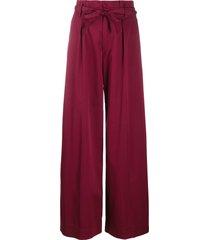 forte forte tie waist palazzo trousers - purple