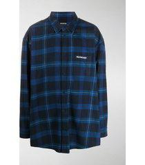 balenciaga check-pattern oversize shirt