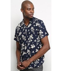 camisa pacific blue flower masculina