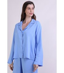 camisa de pijama feminina mindset manga longa azul